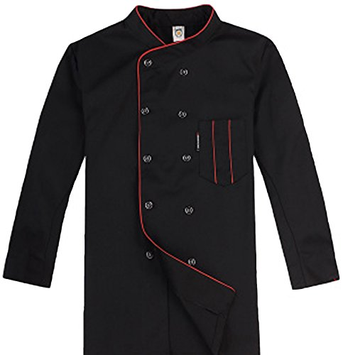 Short Sleeve Chef's Jacket Kitchen Cook Coat Stripe Uniforms 3Colors(Black, red, White) (Medium, Black (Long Sleeve)) ()