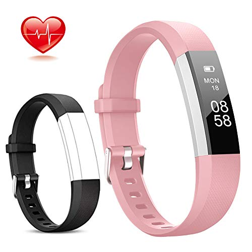 Lintelek Fitness Tracker, Slim Activity Tracker with Heart Rate Monitor, IP67 Waterproof Step Counter, Calorie Counter, Pedometer for Kids Women and Men (Pink+Black)