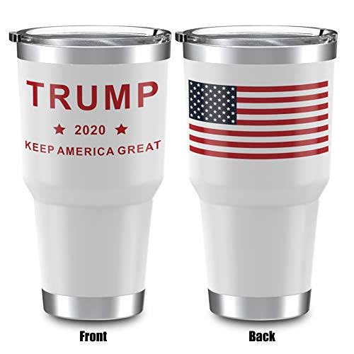 Heato Trump Keep America Great 2020, Double Wall Stainless Steel Insulated Travel Mug Coffee Cup with Lid (White, 20 oz)