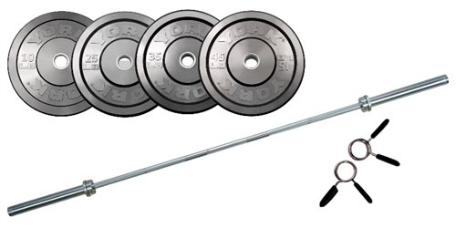 York 325 lb Rubber Training Bumper Set with Olympic Bar by York Fitness