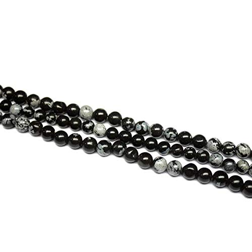 Beads Bazar Natural Beautiful jewellery 2 Strand Natural Snowflake Obsidian Smooth Round Ball Gemstone Craft Loose Beads 14