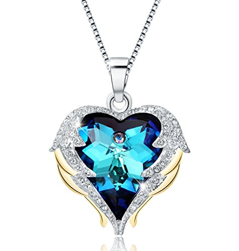 (Mevecco Womens Fashion Necklace with Swarovski Crystal Heart Pendant Necklace Jewelry-NK10-Blue)
