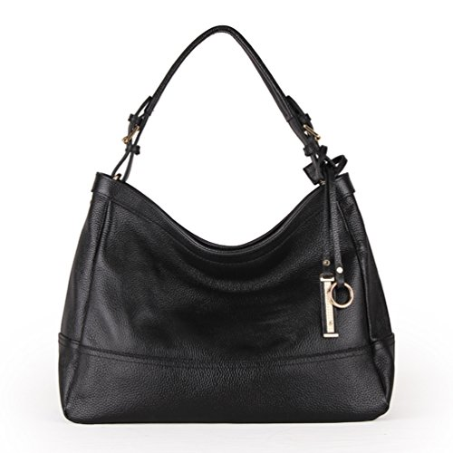 Carry Ladies Zip Blue Pretty Handbag Black Shoulder Leather Me SUNROLAN lf6024baolan Pockets Hobo a6pqH