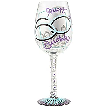Enesco 6000739 Designs By Lolita Hand Painted Artisan 15 Oz 60th Birthday Wine