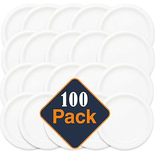 (9in.MVP White Disposable Plastic Plates - Microwave Safe - Soak Proof - Hot or Cold 100 Per Package)