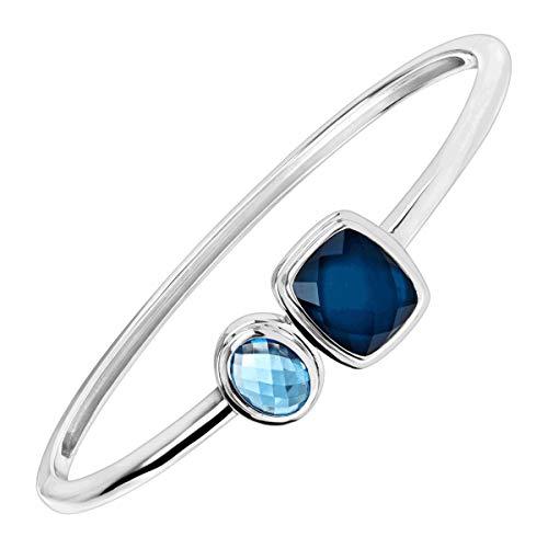 Silpada 'Blue Moon' 2 1/2 ct Natural Blue Topaz Bangle Bracelet in Sterling Silver, 7