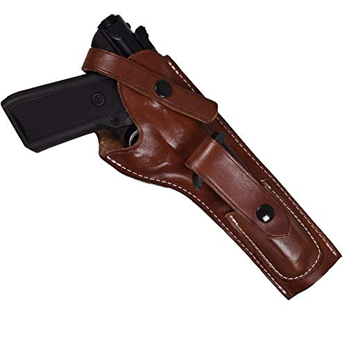 Mag Case Snap Molded Insert - Leather Holster for Ruger MK I, II, III with 5.5-Inch Barrel and Mag Pouch  Ruger Mark II Leather Holster Proudly USA Made  Ruger Mark I Holster  Ruger Mark II Holster  Ruger MarkIII Holster  (Right)