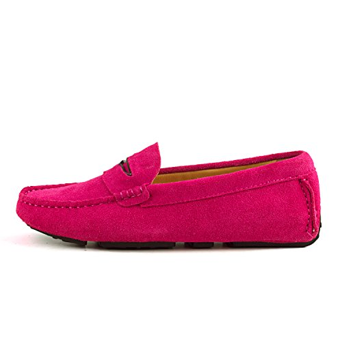 Ausland Kvinnor Mocka Mockasin Slip-on Loafer 9123 Rosa