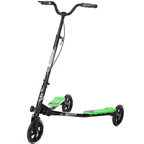 Merax 3 Wheels Foldable Swing Dragon Fitness Scooter with Height Adjustable Handlebar (Black and Green)