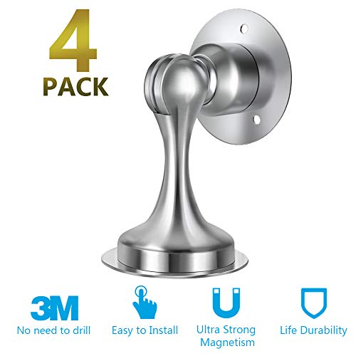 Door Stopper,4 Pack Magnetic Door Stop, Stainless Steel, Magnetic Door Catch, 3M Double-Sided Adhesive Tape, No Drilling, Screws for Stronger Mount, Hold Your Door Open, 4 Pack for Less Cost