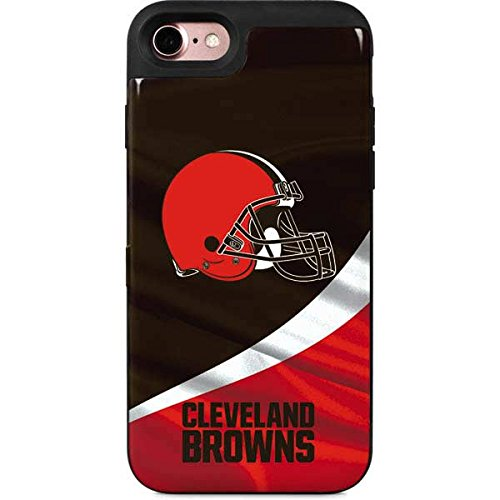 Skinit NFL Cleveland Browns iPhone 8 Wallet Case - Cleveland Browns Design - 2 Card Hidden Phone Cover Compartment - Cleveland Browns Cover