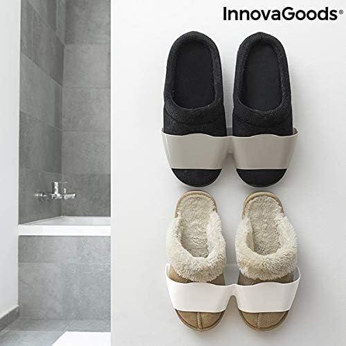 InnovaGoods Sh/öelf Lot de 4 paires de chaussures autocollantes Blanc Gris 25,5 x 7,5 x 7 cm