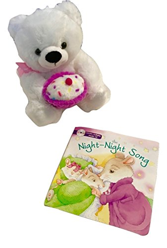 Lullabies for Kid's, Baby, Toddler; Lullaby Book, Soothing CD; Plush Animal Toy; Soft Cuddly Huggable White Plush Toy Bear Holding Pink Cupcake, The Night Night Book, Includes a Lullaby Music CD; 2-pc