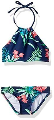 Kanu Surf Girls' Big Mahina Beach Sport Halter Bikini 2-Piece Swimsuit, Leonie Floral Navy, 14