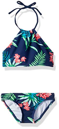 Kanu Surf Toddler Girls' Mahina Beach Sport Halter Bikini 2-Piece Swimsuit, Leonie Floral Navy, 2T
