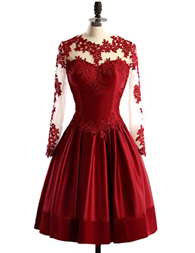 ALfany Charming Crew Long Sleeve Lace Short Prom Homecoming Cocktail Party Dresses (20W, Burgundy)