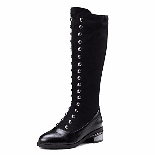 Europa y el estilo británico BIKER botas botas botas altas de tamaño Black (Terry)
