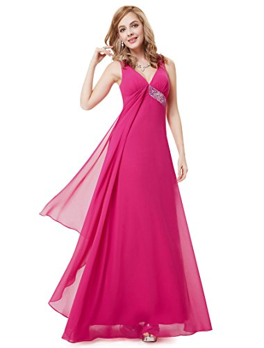Ever Pretty Womens V-Neck Flowy Ribbon Sequined Waist Long Party Dress 4 US Hot Pink