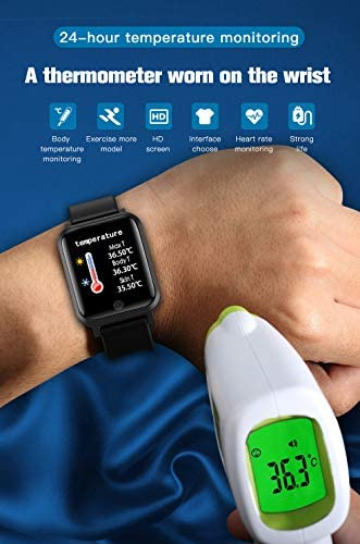 RRLOM Smart Watch Blood Pressure Monitor, Heart Monitor Smart Watch, Temperature Scanner, IP67 Waterproof, SpO2+ HR+ BP Monitor, Sports Fitness Tracker 417USllc1nL