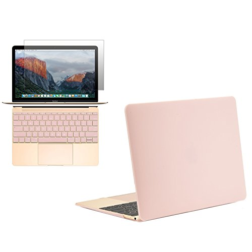Unik Case - Ultra Slim Light Weight Hard Case Cover, Matching Color Keyboard Cover, Screen protector for Macbook 12' with Retina Display Model: A1534 (Release 2015) - Rose Quartz