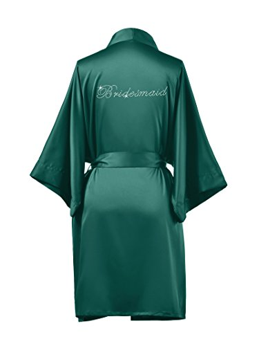 AW Satin Bridesmaid Robes Short Bridal Robes for Bridesmaid Gifts Soft Womens Kimono Robe Teal M //ZS1604CPP03A//