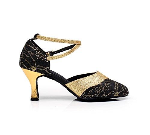 Minishion Closed Toe Floral Lace Latin Ballroom Zapatos De Baile Boda Evening Party Bombas Negro / Dorado-7.5cm Talón