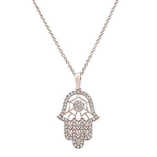 14K Gold, White Gold or Rose Gold 0.25 cttw Diamond Hand Of Hamsa Chai Pendant Necklace (14, 16, 18