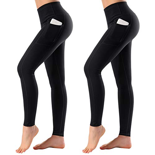 8df66381d06f7 High Waist Yoga Pants with Side & Inner Pocket Sports Leggings Tummy Control