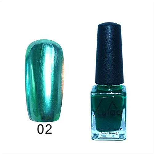 Nail Art Polish,Putars Fashion Mirror Effect Metal Multi-color Paint Topcoat Metal Nail Art Polish 10ml (Green) -