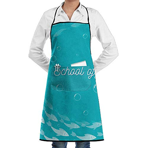 LOGENLIKE A Group Of Fishes Kitchen Aprons, Adjustable Classic Barbecue Apron Baker Restaurant Black Bib Apron With Pockets For Men And Women
