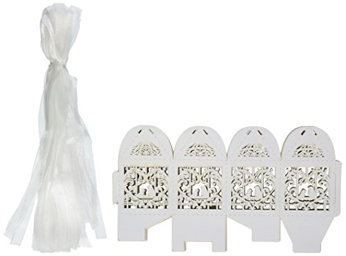 50 Pack White Love Birds Laser Cut Favor Candy Box Bomboniere with Ribbons Bridal Shower Wedding Party Favors (Love Birds Paper Ribbon)