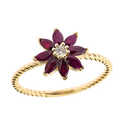 (Elegant 10k Yellow Gold Diamond Daisy Rope Promise Ring with Ruby Petals (Size)