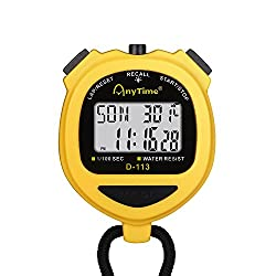 Flexzion Digital Stopwatch Timer Clock Countdown Stop Watch Water-Resist w/Large Display Professional Handheld Chronograph Timepiece for Sports Swimming Running Track & Field Classroom Coach (Yellow)