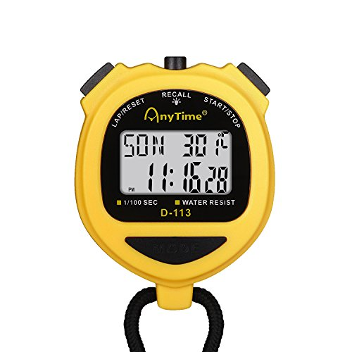 Flexzion Digital Stopwatch Timer Clock Countdown Stop Watch Water-Resist w/Large Display Professional Handheld Chronograph Timepiece Sports Swimming Running Track & Field Classroom Coach - Timer Time Countdown Stopwatch
