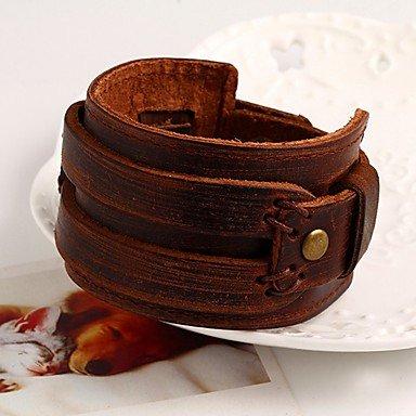 Forma 1 Gyjun Redonda Brown Joyas 21cm Hombre Pulseras Mujer 21cm Pieza Piel De Cuero Moda vUZRT1vq