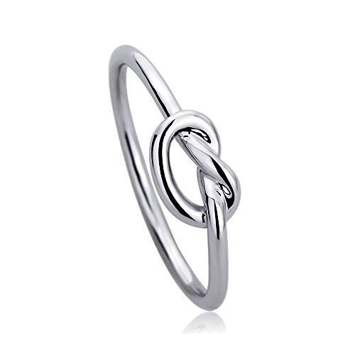 Double Accent Sterling Silver 14K Gold or Rose Gold Plated Wedding Ring Celtic Love Knot Promise Ring 5mm (Size 2-13), - Knot Ring 14k Gold Love
