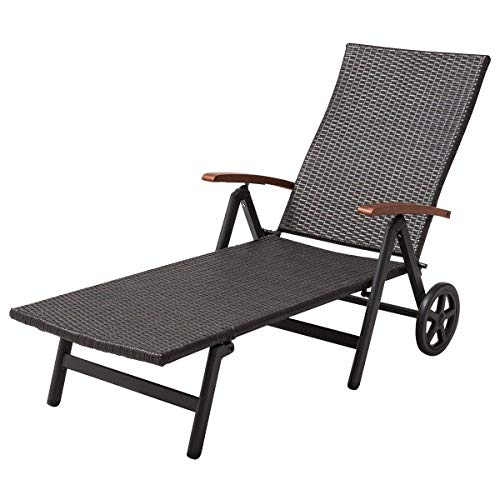 Tangkula Wicker Chaise Folding Back Adjustable Aluminum Rattan Lounger Recliner Chair W/Wheels (Brown) (Lounge Chairs Outdoor Brown)