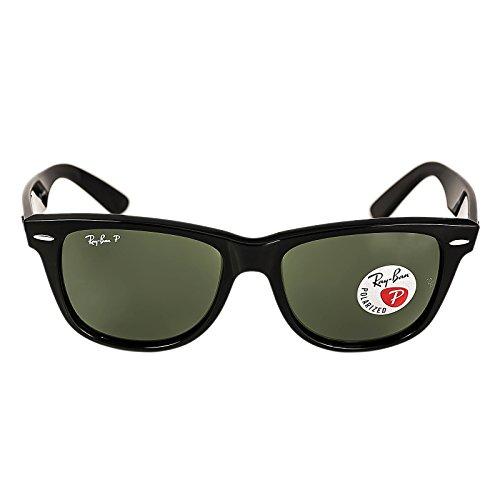 Ray-Ban RB 2140 901-58 54 Wayfarer Black Plastic Frame Crystal Polarized Green Lenses - Ban 901 Ray 2140