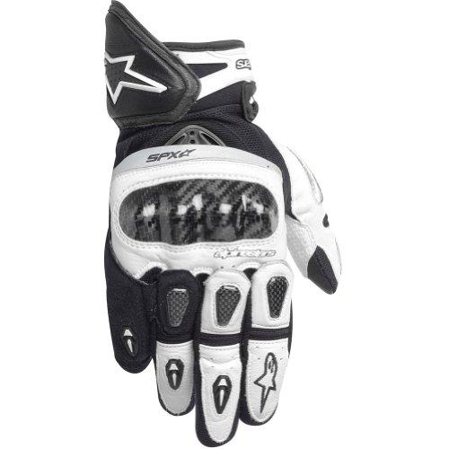 Alpinestars SP-X Men's Leather Street Bike Motorcycle Gloves - White/Black / 2X-Large