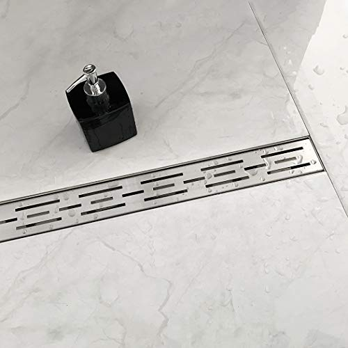 Neodrain 24 Inch Rectangular Linear Shower Drain with Brick Pattern Grate, Brushed 304 Stainless Steel Bathroom Floor Drain,Shower Floor Drain Includes Adjustable Leveling Feet