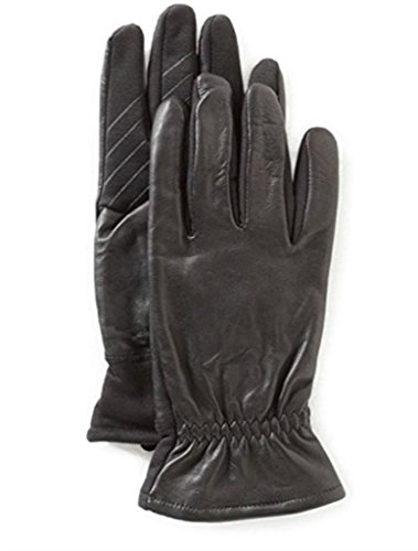 U/R powered touch screen compatible Men´s Leather Gathered-Wrist Tech Gloves (L/XL)