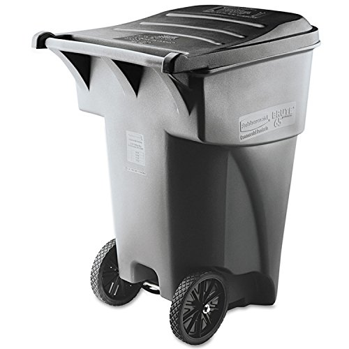 Rubbermaid Commercial Brute Rollout Heavy-Duty Waste Container, Square, Polyethylene, 95 Gallons, Gray (9W22GY) -