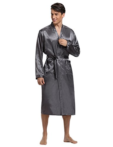 Da Vestaglia Raso Hotel Notte Spa In Uomo Elegante Casa Lunga Camicia Uomo grigio Cintura Con Aibrou Raso Per 05xEqUwx
