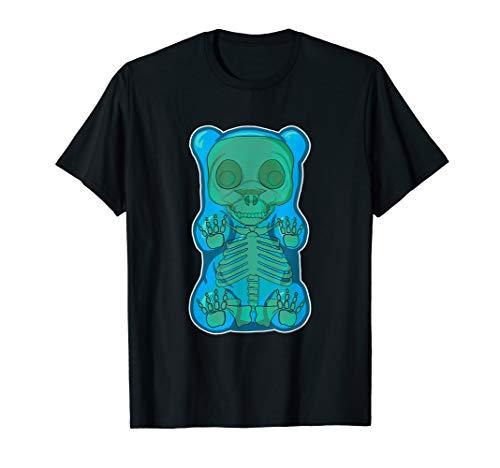 Classic Blue GUMMY BEAR Skeleton Anatomy halloween T-SHIRT -