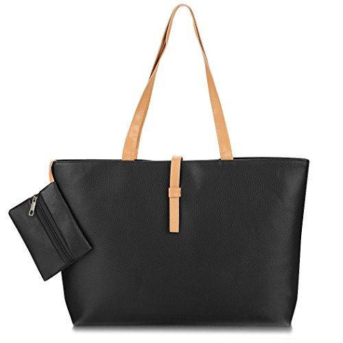 Bolso de mano - Moda damas PU cuero sólido mujeres Tote Bolso de viaje Bag(Black) Negro