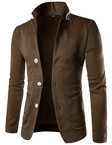 COOFANDY Mens Casual Slim Fit Blazer 3 Button Suit Sport Coat Lightweight Jacket,Brown,XX-Large