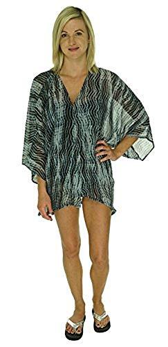 Raviya Striped Tie Dye Crochet Back Kimono Bathing Suit Cover Up (Small/Medium, Black)