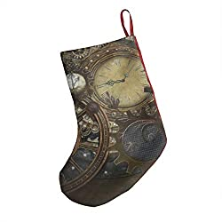 Personalized Christmas Stocking, Steampunk Clocks Front Panel Christmas Stocking 18¡± Red On The Back for Family Holiday Season Decor
