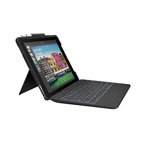 Logitech iPad Pro 10.5 inch Keyboard Case | SLIM COMBO with Detachable, Backlit, Wireless Keyboard and Smart Connector (Black)