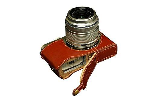 オリンパス E-PL6 (EPL6)用本革カメラケース(電池,SDカード交換可) ブラウン B07SW64LT8 カメラケース&ストラップTP09&バッテリーケース FreeSize